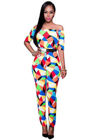 Her Spectacular Multicolor Graphic Print Belted Off Shoulder Jumpsuit