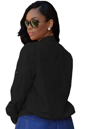 Her Sporty Black Pocket Sleeve Cropped Stand Collar Bomber Jacket
