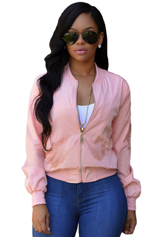 Her Sporty Pink Pocket Sleeve Cropped Stand Collar Bomber Jacket