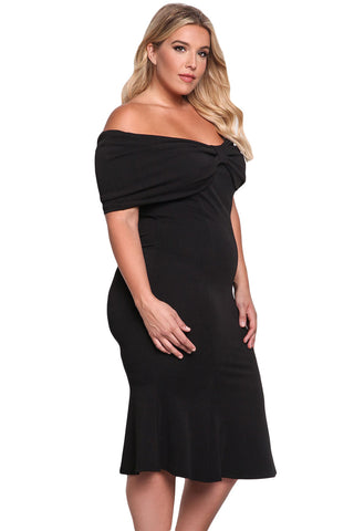 Her Trendy BIG'n'BEAUTIFUL Black Size Off Shoulder Mermaid Midi Dress
