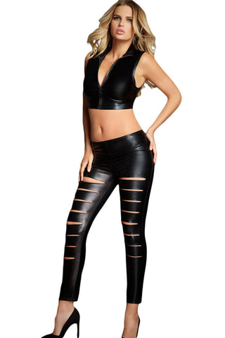 Her Stunning Black Leather Look Ribbed Slit Front Leggings