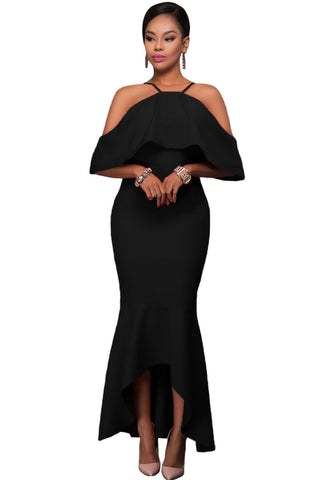 Her Stunning Black Ruffled Sleeves High-low Hem Party Maxi Dress