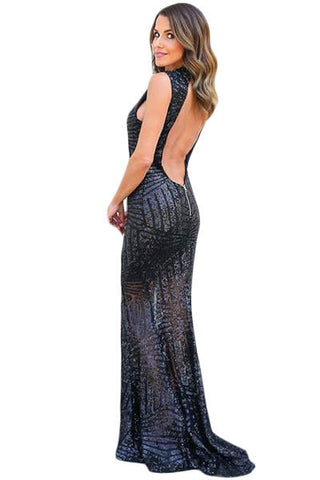 Her Stunning Black Sequins Keyhole Back Evening Party Gown