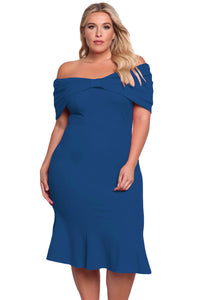 Her Trendy BIG'n'BEAUTIFUL Blue Size Off Shoulder Mermaid Midi Dress
