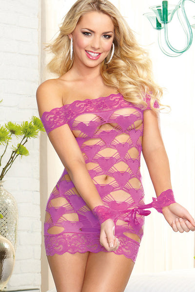 Her Stunning Lingerie Violet Seamless Strappy Heart Valentine Chemise