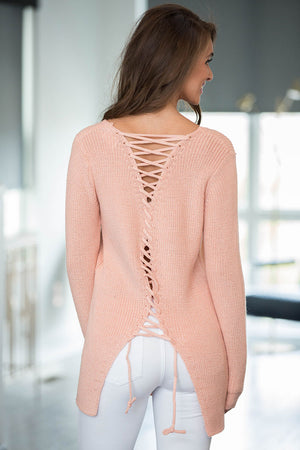 Her Stunning Khaki Never Look Back Lace Up Stylish Sweater