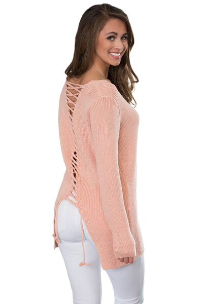 Her Stunning Pink Never Look Back Lace Up Stylish Sweater