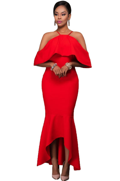 Her Stunning Red Ruffled Sleeves High-low Hem Party Maxi Dress