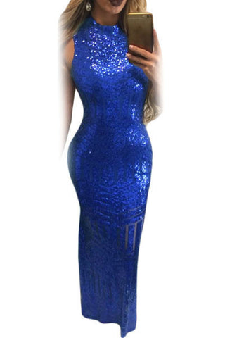 Her Stunning Royal Blue Sequins Keyhole Back Evening Party Gown