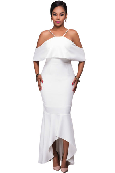 6f8e7389702 Her Stunning White Ruffled Sleeves High-low Hem Party Maxi Dress ...