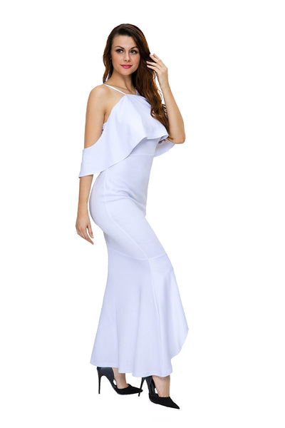Her Stunning White Ruffled Sleeves High-low Hem Party Maxi Dress