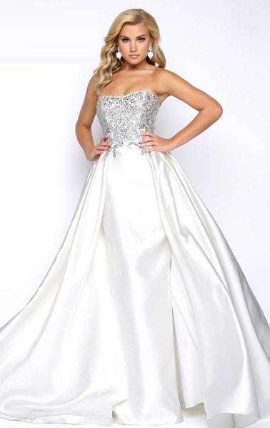 Her Style And Elegance Beaded Strapless Ball Gown