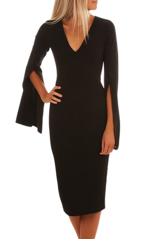 Her Styling Black Split Bell Sleeves V Neck Bodycon Midi Dress