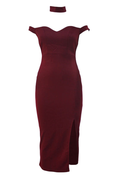 Her Styling Burgundy Luxurious Trendy Long Party Dress with Choker