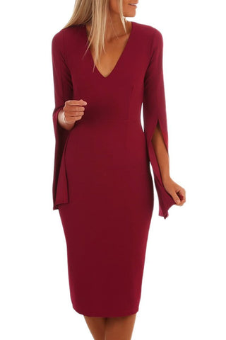 Her Styling Burgundy Split Bell Sleeves V Neck Bodycon Midi Dress