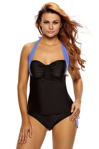 Her Stylish Black Blue Halter Neck Chic Tankini Swimsuit