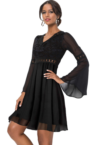 e9f1f0f97f71 Her Stylish Black Lace Chiffon Patchwork Bell Sleeve Skater Dress –  HisandHerFashion.com