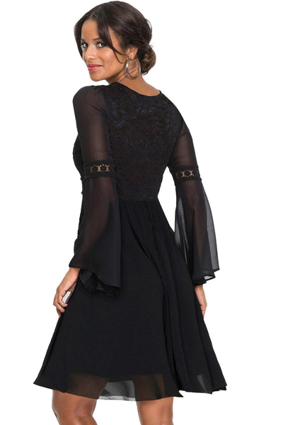 3ce5fd51775 Her Stylish Black Lace Chiffon Patchwork Bell Sleeve Skater Dress ...