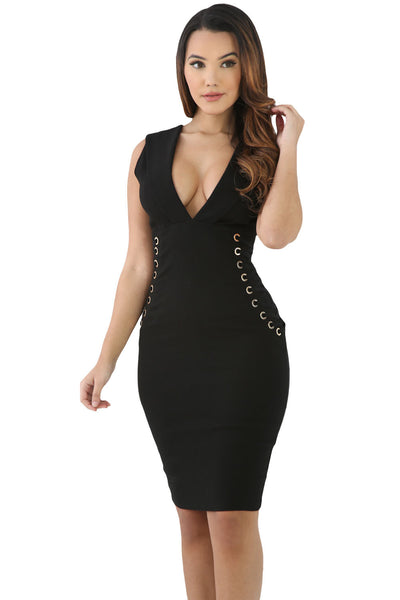 Her Stylish Black Lace It Sideways Bodycon Dress