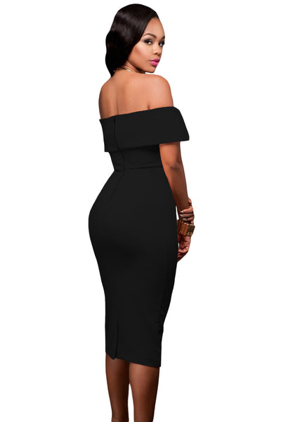 Her Stylish Black Off-the-shoulder Slender Design Midi Dress