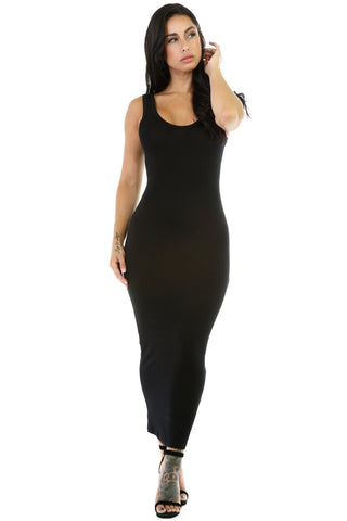 Her Stylish Black Stretchy Fit Long Sundress Jersey Dress