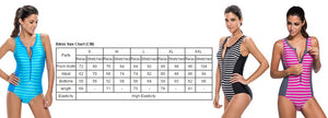 Her Stylish Rosy Striped Sleeveless Rashguard One Piece Swimsuit