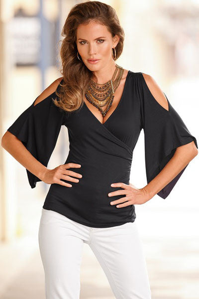 Her Stylish Black V Neck Top Slit Cut Sleeve Women Blouse
