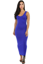 Her Stylish Blue Stretchy Fit Long Sundress Jersey Dress