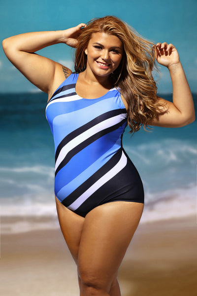 Her Stylish Bluish Oblique Stripes One Piece PlusSize Swimsuit