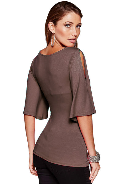 Her Stylish Brown V Neck Top Slit Cut Sleeve Women Blouse