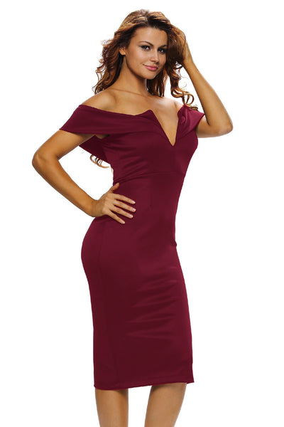 Her Stylish Red Off-the-shoulder Slender Design Midi Dress