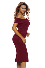 Her Stylish Burgundy Off-the-shoulder Slender Design Midi Dress