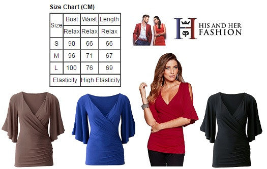 Her Stylish Burgundy V Neck Top Slit Cut Sleeve Women Blouse