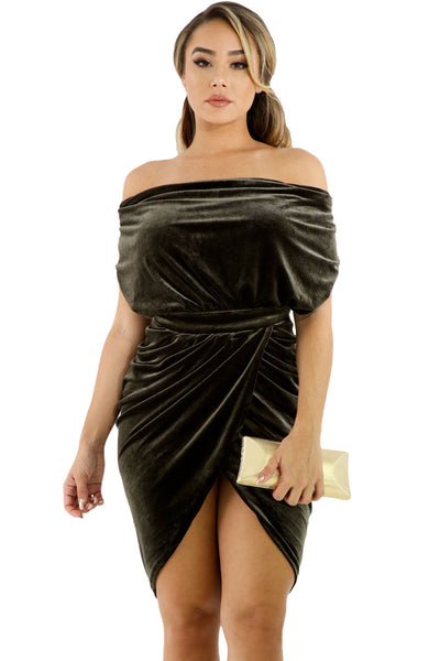Her Stylish Dark Green Draped Suede Open Back Trendy Bodycon Dress