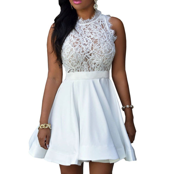 Her Stylish Elegant White Lace Sleeveless Women Party Skater Dress