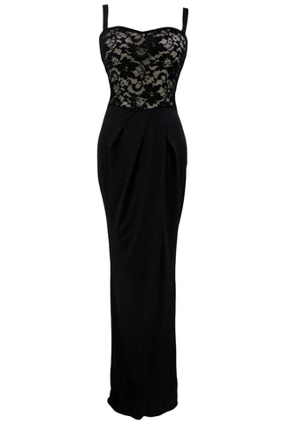 Her Stylish Floor-Length Black Lace Bustier Top Split Maxi Party Dress