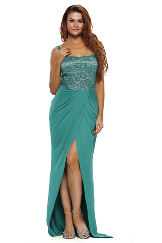 Her Stylish Floor-Length Green Lace Bustier Top Split Maxi Party Dress