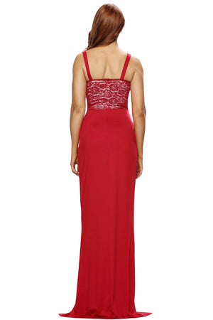 Her Stylish Floor-Length Red Lace Bustier Top Split Maxi Party Dress