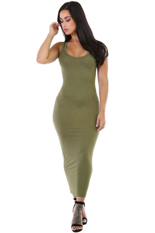 Her Stylish Green Stretchy Fit Long Sundress Jersey Dress