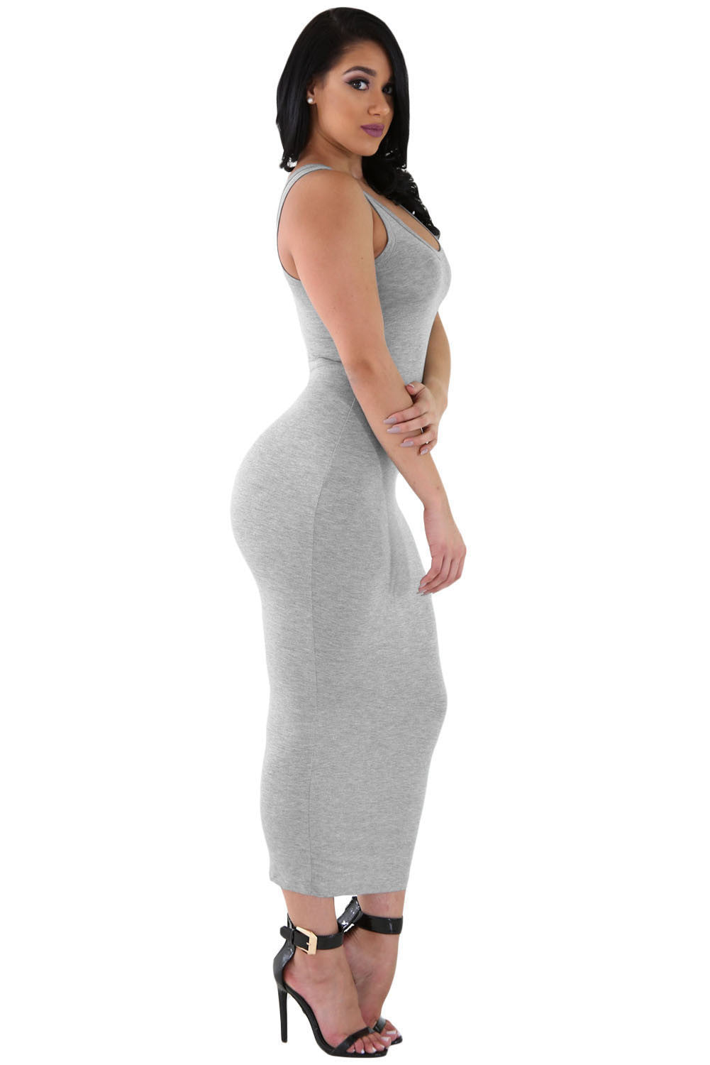 Her Stylish Grey Stretchy Fit Long Sundress Jersey Dress