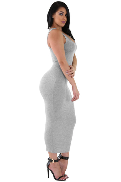 e96441883b90 Her Stylish Grey Stretchy Fit Long Sundress Jersey Dress ...