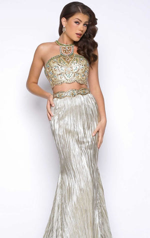Her Stylish Halter Shimmering Beaded Two-Piece Gown