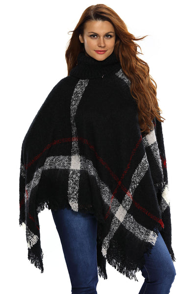 Her Stylish Kimono Style Cardigan Black Turtleneck Tassel Cape Sweater