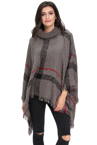 Her Stylish Kimono Style Cardigan GreyTurtleneck Tassel Cape Sweater
