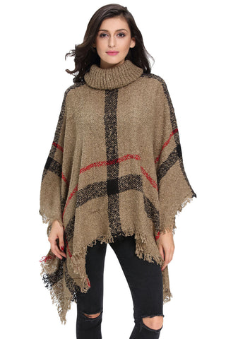 Her Stylish Kimono Style Cardigan Khaki Turtleneck Tassel Cape Sweater