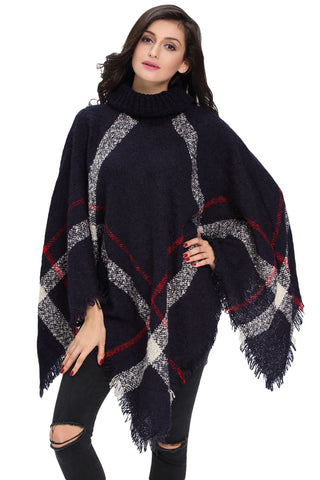 Her Stylish Kimono Style Cardigan Navy Turtleneck Tassel Cape Sweater