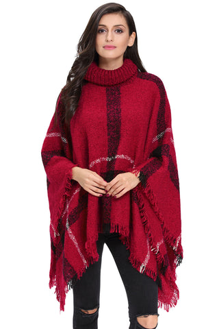 Her Stylish Kimono Style Cardigan Red Turtleneck Tassel Cape Sweater