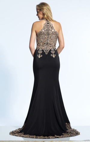 Her Stylish Look Beaded Haltered Gown Floor Length Gown