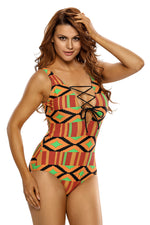Her Stylish Multicolor Print Lace Up V Neck Teddy Swimwear