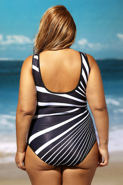 Her Stylish Monochrome Oblique Stripes One Piece PlusSize Swimsuit